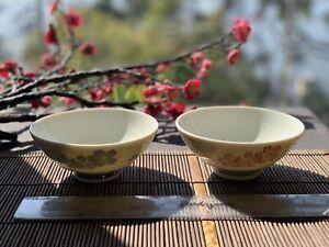 Japanese 2 Rice Bowl Set Yoshino Sakura Minoware Ceramic Made in Japan F/S