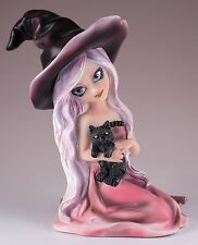 "Witch With Black Cat and Broom Figurine Resin Halloween 5.75"" High New In Box"