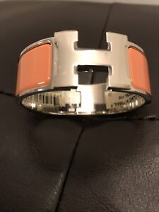 Authentic Hermes Clic Clac H Bracelet Rose Saumon Size PM Brand New