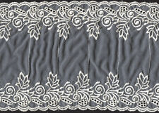 """7"""" Ivory Embroidered Organza Fabric Trim 4 Yards"""