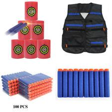 Vest Jacket+100pcs Bullet Darts+EVA Target Set Fr Kid NERF Gun N-Strike Game Toy