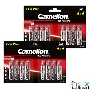 16 Camelion Aa Plus Piles Alcalines LR06 MN1500 AM3 E91 1.5V 8BL Exp 2027 Neuf
