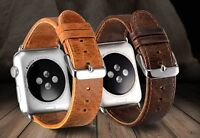 Vintage Genuine Leather Strap Watch Band For Apple Watch series 5/4/3/2/ 42/44mm