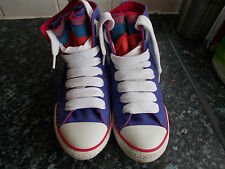 d3ec50854bdd72 CONVERSE ALL STAR PURPLE HI TOPS-COLOURED NET TONGUE THICK LACES-UK 4