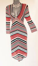 KAREN MILLEN Stripe Long Sleeves V-Neck Knitted Crochet Formal Dress 1  UK 8/10