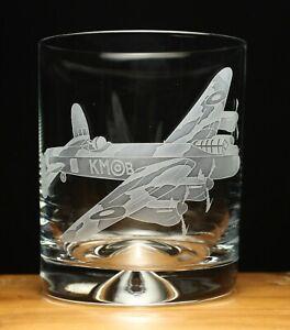 Lancaster Bomber WW2 RAF Aeroplane Aircraft engraved glass tumbler gift present