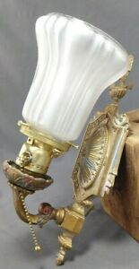 Antique Brass Wall Sconce Polychrome Light Updated Wiring Working Crescent Co.