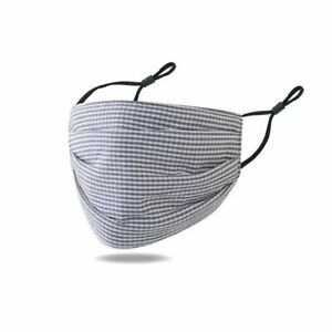 Cotton, Face Masks, fashionable, checked & dogtooth- lined with adjustable ties