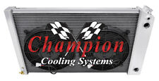 "3 Row RS Radiator 17""x26"" Core,12"" Fans,1 1/4"",1 1/2"" - 1970-1981 Camaro LS Swap"