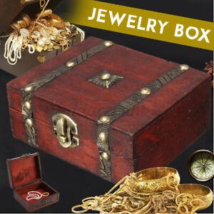 Wooden Vintage Lock Treasure Chest Jewelry Storage Box Case Ring Organiser