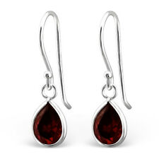 925 Sterling Silver Teardrop Cubic Zirconia Garnet Women, Girl Earrings