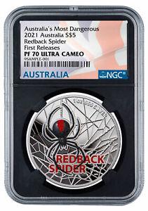 2021 Australia Redback Spider 1 oz Silver Colorized $5 Coin NGC PF70 FR BC Flag