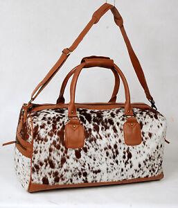 100% Natural COWHIDE Duffel Bag Hair On Leather TRAVEL Bag Luggage Bag SA-103