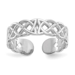 14k White Gold Polished Small Celtic Knot Adjustable Toe Ring  0.88 gr