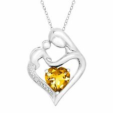 """Created Citrine Mother & Child Heart Pendant w Diamond Sterling Silver 18"""""""