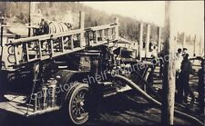 COEUR D'ALENE IDAHO FIRETRUCK AT DOCKS c1920 TUBBS HILL RPPC Photo Postcard