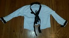 Women's Large Neesh by Dar black white sweater shawl cropped tie closure. Used