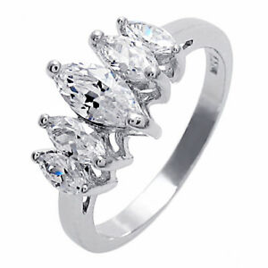 925 Sterling Silver 1.40 Carat CZ Anniversary Wedding Band Ring Size 6-8