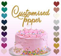 Custom Personalised Cake Topper Glitter Gold Birthday Any Chosen Word Name 1 2 3