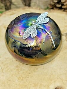Neo Art Glass multi ridescent glasss paperweight silver dragonfly sign K.Heaton