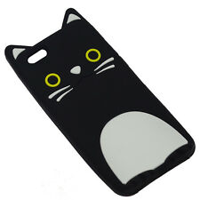 """CASE COVER 3D SILICONE RUBBER IPHONE 6 6S 4.7"""" BLACK CAT ANIMALS TOYS"""