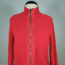 LIZ & CO. Zip Up Red Cotton Sweater size L