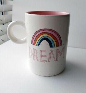 DREAM Coffee Tea Mug Cup Rainbow Round Handle Microwave Dishwasher Safe