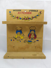 Vintage Child's Wooden Kitchen Utensils Rack Chef Folk Rustic Country Bakers