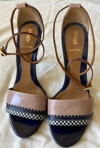 FENDI 8/38 Sandal High Heel Black Tan Checkerboard Stiletto Ankle Strap Pumps