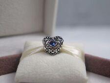 New w/Box Pandora December Signature Heart Charm 791784NLB London blue crystal