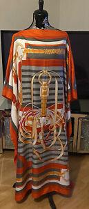 Ladies 100% Silk Desighner Print Kaftan New No Tags Rrp £210