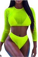 Meyeeka Women's Summer Mesh Long Sleeve Swimsuits 3, Lemon Green, Size XX-Large