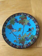 More details for antique enamel japanese/chinese ? cloisonne bird and flower plate