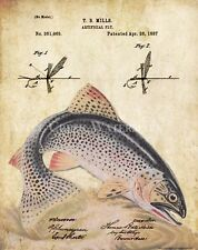 Fly Fishing Patent Poster Art Print Vintage Lures Rainbow Trout Fish Pole PAT437