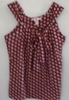 BANANA REPUBLIC BLOUSE Black Gold Red Small Front Tie Sleeveless Casual Career