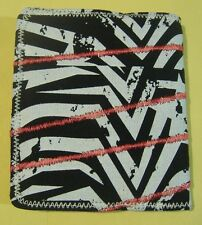BLACK WHITE RED WALLET SCREEN PRINT SOFT CANVAS BIFOLD WALLET WITH ZIPPER COIN