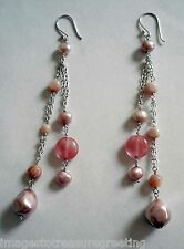 Long pale pink silver earrings, w freshwater & faux pearls, mother of pearl, etc