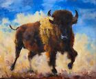 Buffalo oil painting, American Bison original wildlife art by Gary White