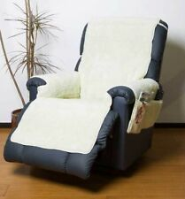 Deluxe Fleece Recliner Soft Cover Furniture Protector With Pockets Natural
