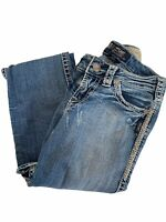 Silver Jeans Women's Suki Flap Medium Wash Jeans Embroidered Pockets Size 26W
