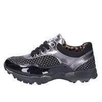 NADA scarpe bambina sneakers nero camoscio grigio vernice con strass