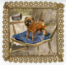 More details for griffon bruxellois brussels belgian hand painted on silk with gold lace border