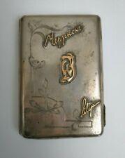 Antique Russian Cigarette Case Moscow 84 Silver Gold Script Vintage Art Nouveau