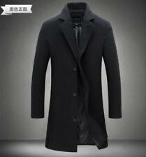 Chic Stylish Trench Coat Mens Wool Blend Overcoat Slim Fit Long Business Casual
