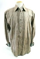 Robert Graham Men's Embroidered Dress Shirt Flip Cuff Size XL Brown Aqua Blue
