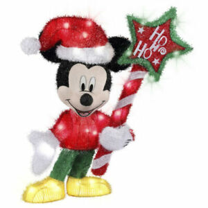 NEW   DISNEY MAGIC HOLIDAY (MICKY MOUSE) LIGHTED TINSEL YARD SCULPTURE
