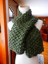 GREAT SHADE of GREEN ALPACA BLEND RUSTY ROSE HAND KNIT WINTER SCARF...