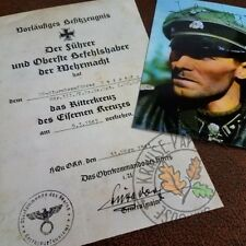 Knight's Cross of Iron Cross document for LSSAH officer Jochen Peiper + photo