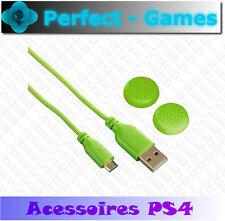 Hama Cable de Charge 3m et Sticks capuchons Vert Dualshock Playstation Ps4