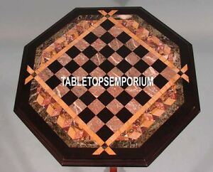 "15"" Brown Marble Chess Board Coffee Table Top Pietradura Inlay Home Garden Decor"